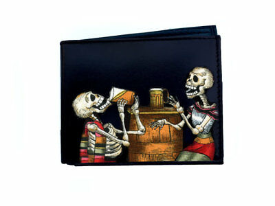 Leather Wallet Skeletons Drinking Day of the Dead M107
