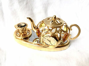 Christocraft Teapot/Cup/Clock Decorated With Swaroski Crystals