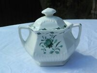 Vintage Sugar Bowl and Lid - Adams Ironstone 'Lincoln' Green