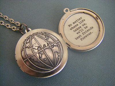Best friends Locket Necklace best friends forever globe map