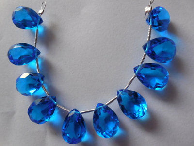 (Hydro Tanzanite Quartz Faceted Briolette Pear Cut Beads Set -1 Strand 10x14MM)