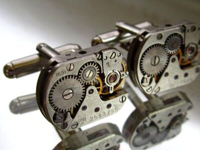 Steampunk Cufflinks Vintage Watch Movements Industrial Jewellery Mens Gift