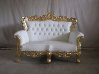 BRAND NEW 2 Piece Suite Venice Chaise Gold Leaf Rococo Antique Gothic Baroque French Wedding