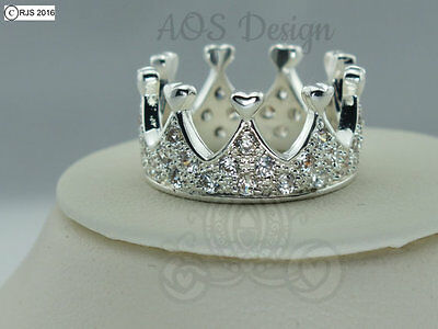 Queen of Hearts Crown Ring 925 Silver Princess Villain Band Crystals Fairytale](Crown Queen Of Hearts)