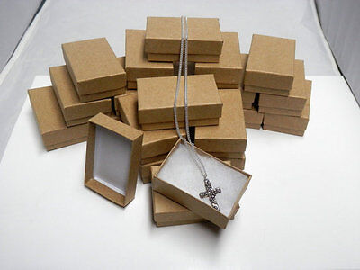 Wholesale 25 Small Kraft Cotton Filled Jewelry Ring Earring Gift Boxes 178