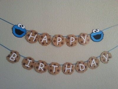 Sesame Street Cookie Monster Happy Birthday Banner, Personalized price change](Sesame Street Birthday Banner)