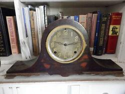 Old E. Ingraham Clock Wood Case 1800's Mantel Clock Antique Clock