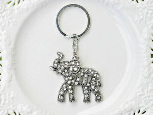 Lucky Rhinestone Elephant Use As Handbag Charm or Keychain