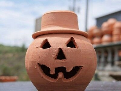 1 Quart Terra Cotta Jack-o'-lantern Pumpkin with Hat from Craven Pottery