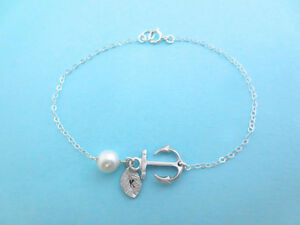 Initial, Sterling, Silver, Chain, Anchor, Bracelet Regina Regina Area image 2