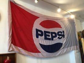 Vintage 1970s/80s Pepsi Advertising Flag. Huge! Vintage/Retro/Breweriana