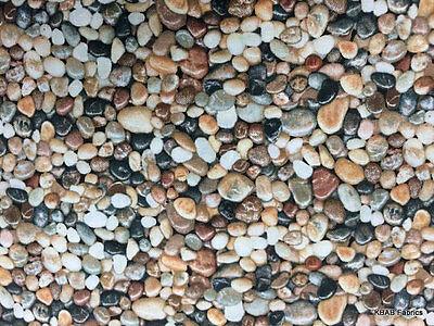 Seaside Rocks - Realistic Nature Rocks Pebbles Landscape Beach Seaside River Ocean Cotton Fabric