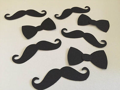 50 Mustache And Bow Tie Confetti, Little Man Baby Shower Decor, Baby Shower