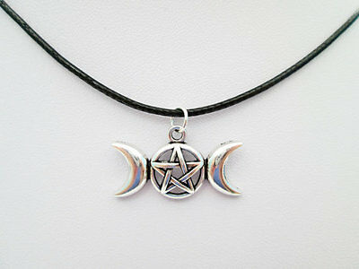 Triple moon charmebay 1 lot of 24 silver pentacle pentagram wiccan triple moon goddess pendant charms mozeypictures Image collections