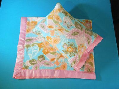 NEW Floral Butterflies Satin Fleece Childrens Blanket/Pillow Case Baby Gift ()