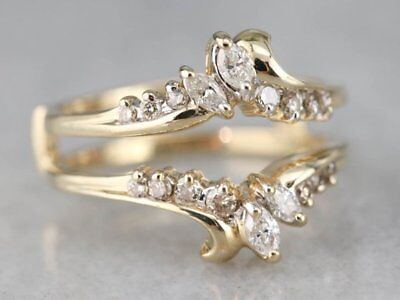 1/2ct Marquise and Round Cut Solitaire Enhancer Ring Guard Wrap 14k Yellow Gold 1/2 Ct Marquise Cut Ring