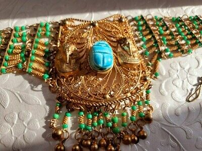 RARE Vintage Egyptian Pharaoh and Scarab Necklace, Hand Beaded Chrysoprase