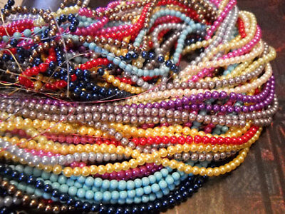 1075 BULK Beads Round Glass Pearls 4mm Beads Assorted Lot Wholesale 5 strands](Bulk Pearls)