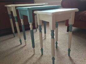 SALE - Nest of 3 End Tables Hand Painted Unique Wooden in Blue Green and White