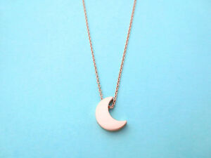 Pink gold, Crescent, Moon, Necklace, Rose gold, Jewelry