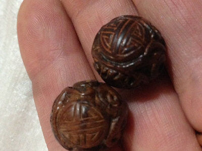Vintage Carved Chinese Wood Wooden bead Intricate Shou Design carving Round 16mm