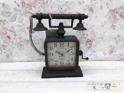 Decor Clock Floor Clock Telephone Shabby Decoration Vintage Country House