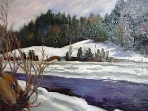 "Original Oil Painting, H. Oswald Stacey , OAC ""The River"" 1950 Stratford Kitchener Area image 2"
