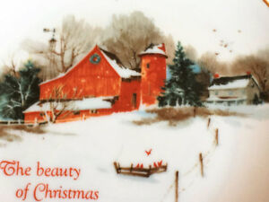 Winter Barn Scene Porcelain Plate at a great price