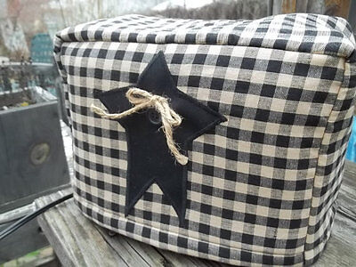Toaster Cover Black Tan Rustic Star Americana Fabric Quilted 4 Slice