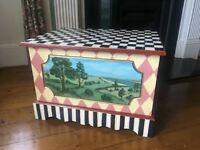 Whimsically Painted Wooden Blanket Box