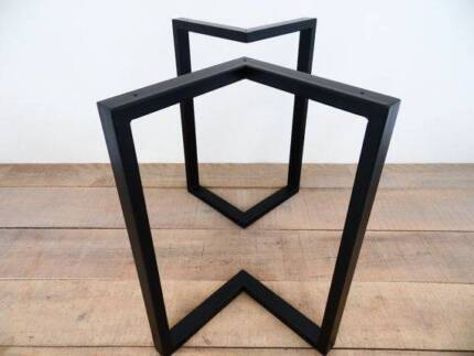 Steel square loop table leg raw steel or powder coated for Dining table frame design