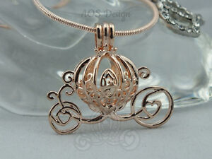Pick A Pearl Cage Carriage Rose Gold Necklace Princess Cinderella Pumpkin Locket