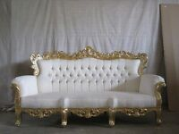 BRAND NEW 2 3 4 Piece Suite Gold Chaise Gold Leaf Rococo Antique Gothic Baroque French Wedding