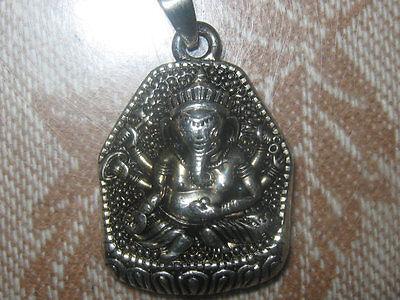 25Mm India Ganesh Ganesha God Om Silver Tone Pendant Charm Necklace