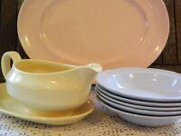 Vintage Woods Ware Jasmine Yellow Gravy Jug with Plate