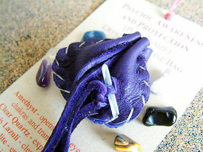 PSYCHIC AWARENESS & PROTECTION  CRYSTAL MEDICINE BAG Pocket Size Pouch + Stones