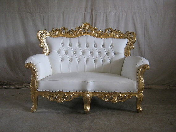 Venice Brand New 3 Piece Gold White French Style Ornate Sofa Chaise Set Luxury Wedding