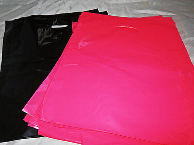 100 12x15 Glossy Pink And Black Low-density Merchandise Bags Whandles