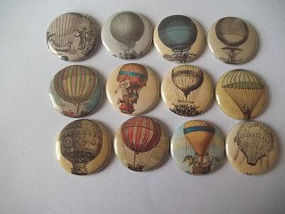 "15 Hot air Balloon 1.25"" pin back Buttons."