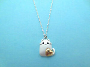 Lovely, Gold, Heart, Cat, Silver, Necklace