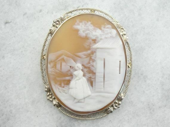 Landscape with Figure Cameo Brooch