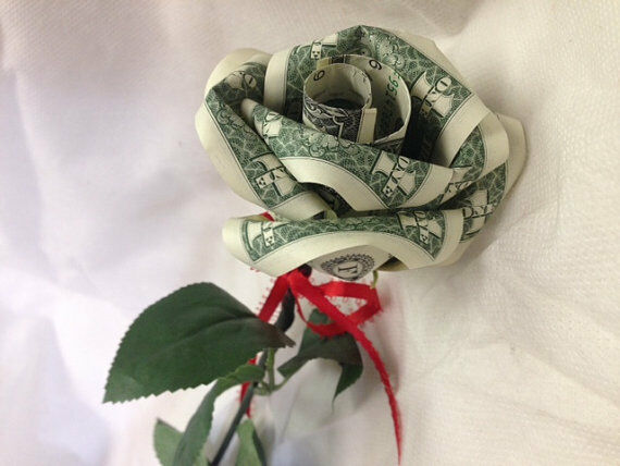 Handcrafted Single Money Origami Rose Valentine Graduation Special occasion gift