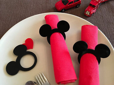 Mickey Mouse Ears Acrylic Napkin Rings Holders Disney Theme Birthday Party Decor (Mickey Mouse Party Theme Decorations)