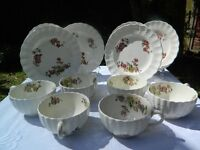 Vintage Copeland Spode Wicker Lane Embossed Basket Weave Floral Teacups and Tea Plates