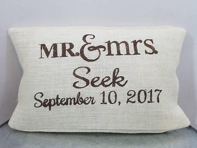 Personalized ivory burlap Mr and Mrs date name pillow cover custom color options - Mr And Mrs Pillow
