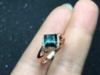 Tourmaline, Diamond and Rose Gold Engagement ring