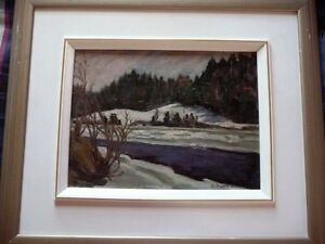 "Original Oil Painting, H. Oswald Stacey , OAC ""The River"" 1950 Stratford Kitchener Area image 1"