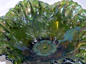 Rare Millersburg Green Carnival Glass Dome Foot Fleur De Lis