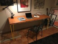 Vintage Desk with Yellow Hairpin Legs / Retro Industrial Table/ Upcycled Home Office Dining/