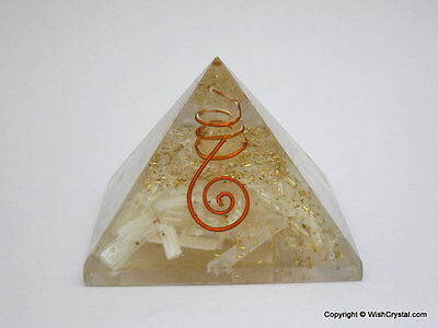 Natural Selenite Pyramid Orgone Pyramid For Aura Energy Generator Chakra Pyramid